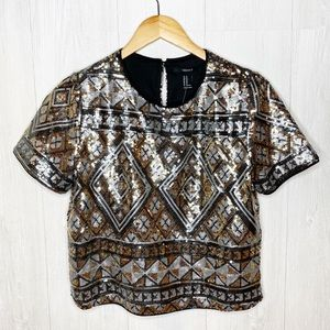 Forever 21   NWT Sequin Crop Top Sz. M